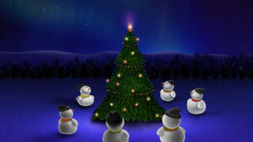 snowman-around-christmas-tree