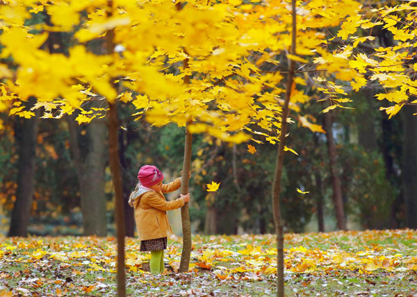 girl playing-autumn-season