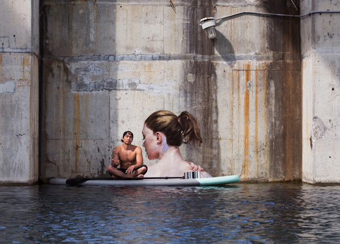 Stunning Seaside Murals While Balancing on His Paddle Board-7