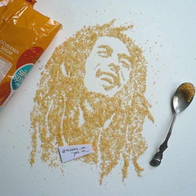 BobMarley Portrait with Foods