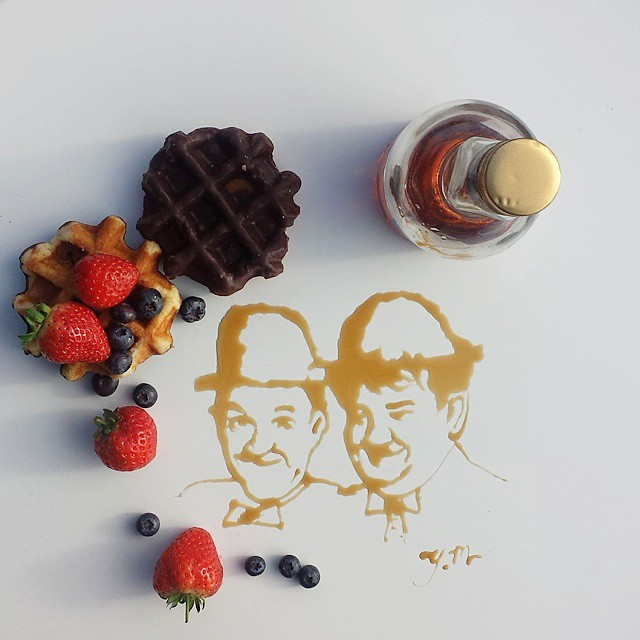 Celebritis Portraits with Various Foods 4