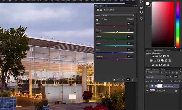 Photoshop tricks Black and white for color control