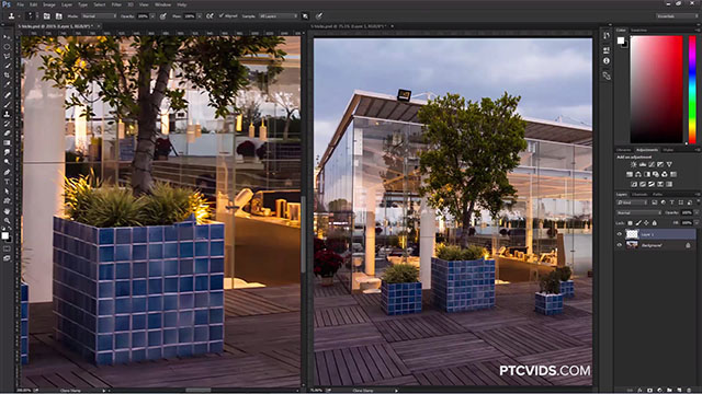 Photoshop tricks One image in two windows