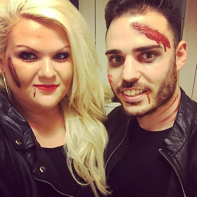 scary halloween costumes couple bloody sandy and danny from grease