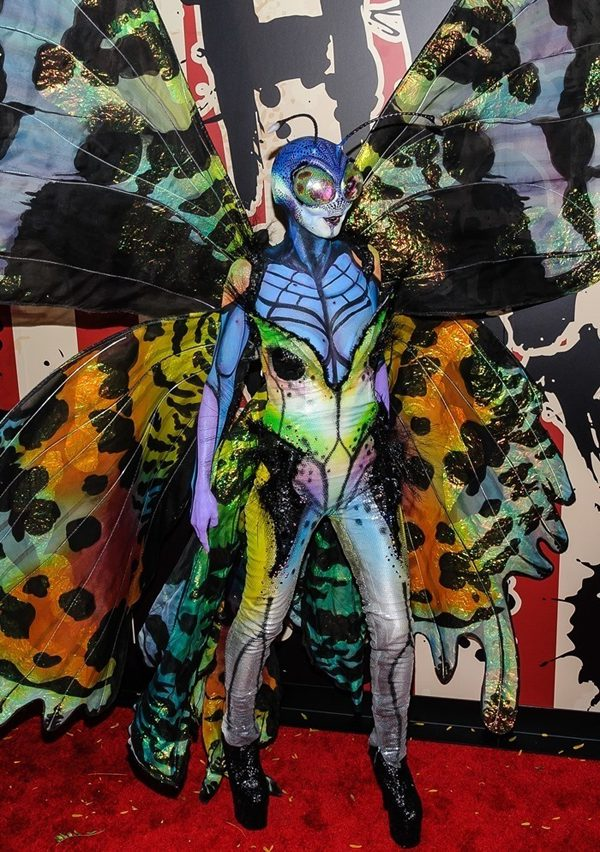 This bright colored butterfly is model Heidi Klum Halloween Celebrities
