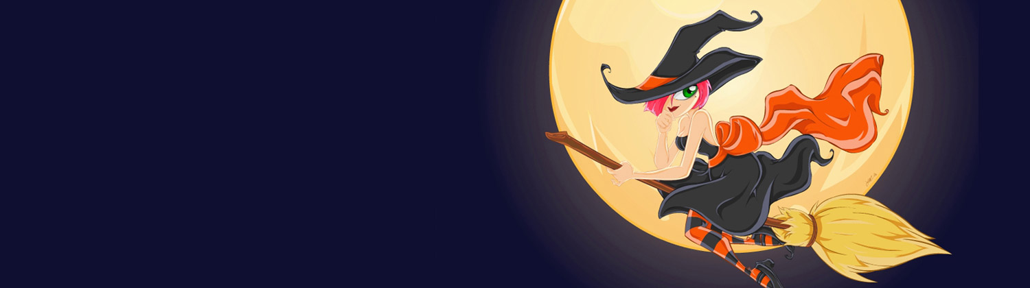 Witch on broom stick halloween-twitter-header-images