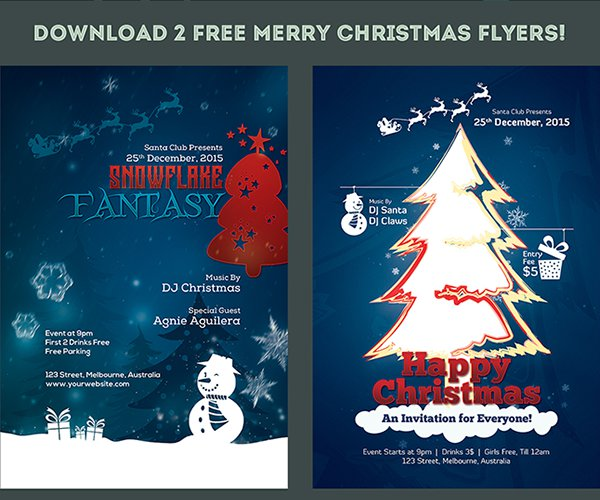 2 FREE Flyers for MERRY CHRISTMAS