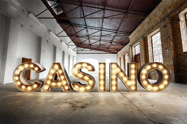 3D Casino Style Bulb Sign Text Effect