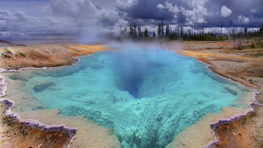 A geothermal spring in Yellowstone National Park