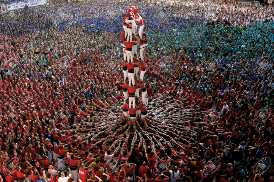 A human tower at a competition in Spain