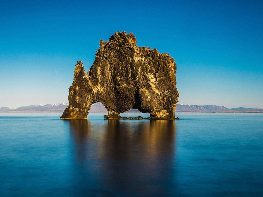 A rock that resembles a rhinoceros, Iceland
