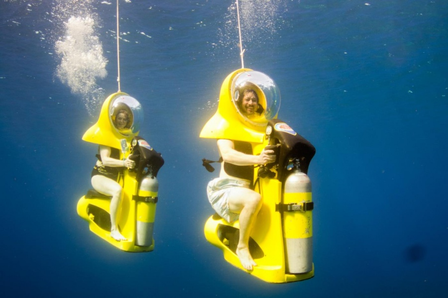 An underwater swim inside mini-submarines in the Bahamas