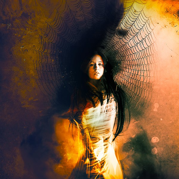 Create A Surreal Scene In Photoshop Lady Trapped In Spider-1