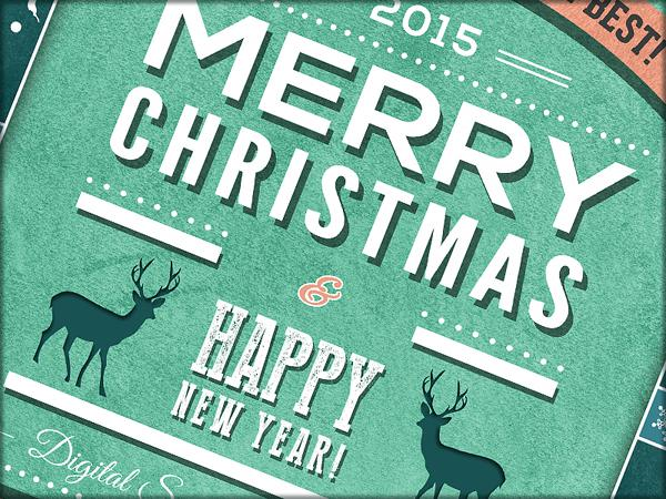 Free Retro Christmas and New Year Flyer
