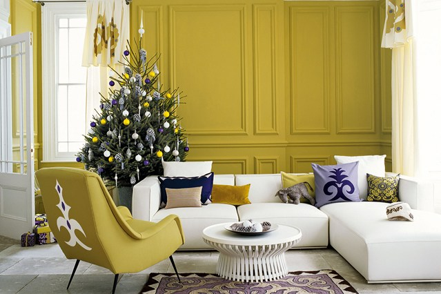 Lime and Green Purple Baubles Christmas Tree