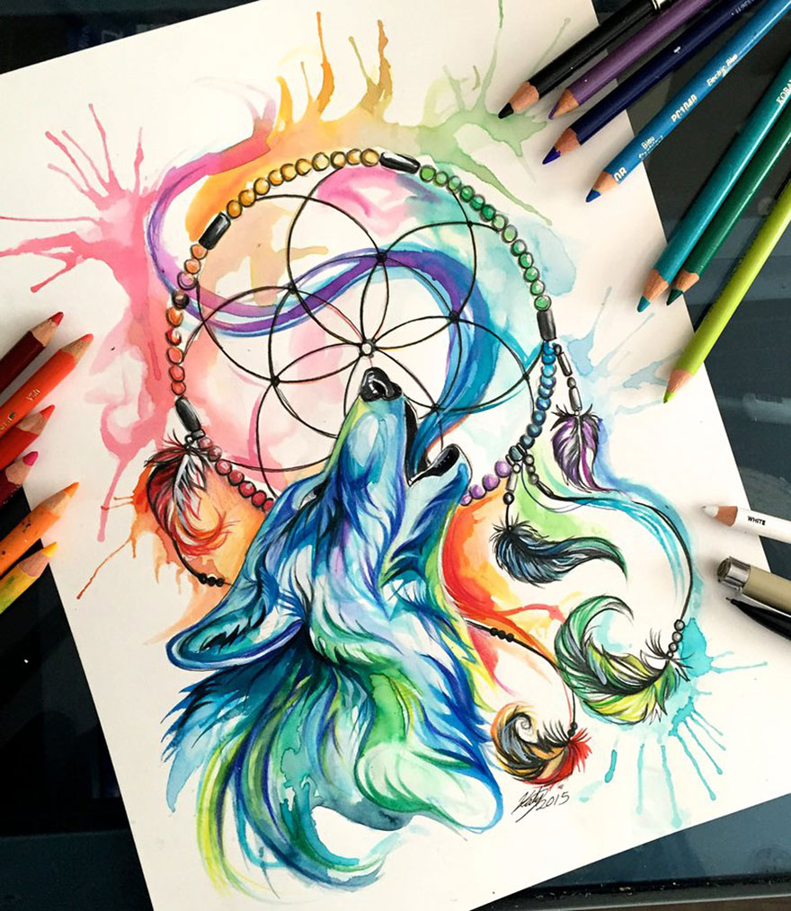 Pencil And Marker Illustrations of Wild Animal Spirits By Katy Lipscomb 12