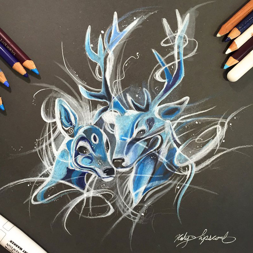 Pencil And Marker Illustrations of Wild Animal Spirits By Katy Lipscomb 13