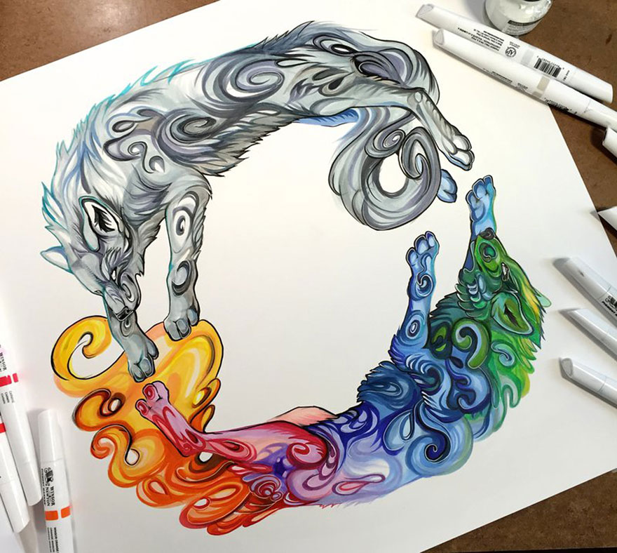 Pencil And Marker Illustrations of Wild Animal Spirits By Katy Lipscomb 14