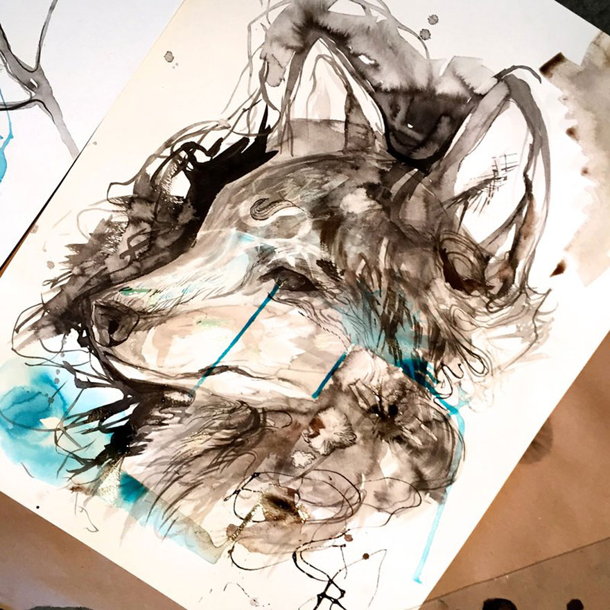 Pencil And Marker Illustrations of Wild Animal Spirits By Katy Lipscomb 15
