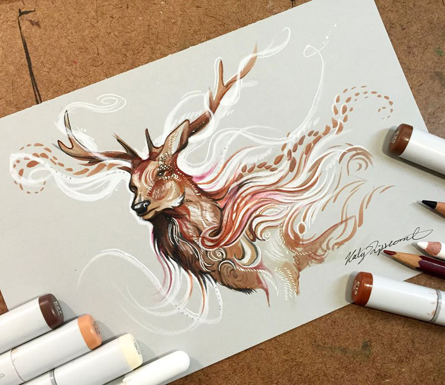 Pencil And Marker Illustrations of Wild Animal Spirits By Katy Lipscomb 2