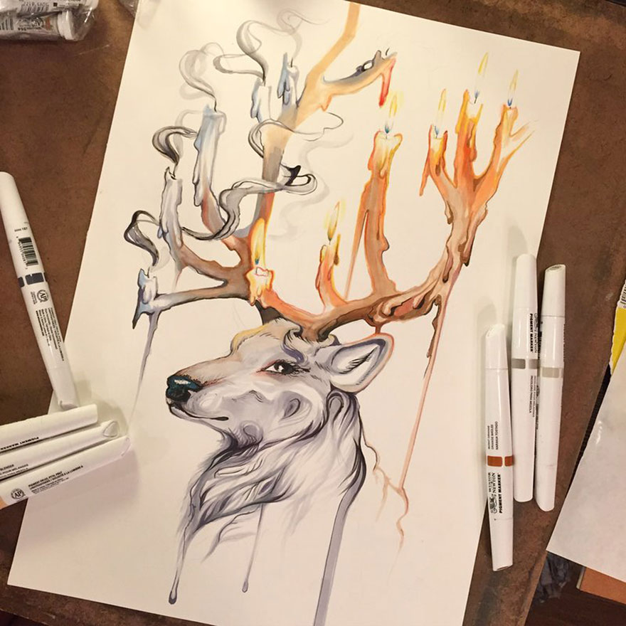 Pencil And Marker Illustrations of Wild Animal Spirits By Katy Lipscomb 3
