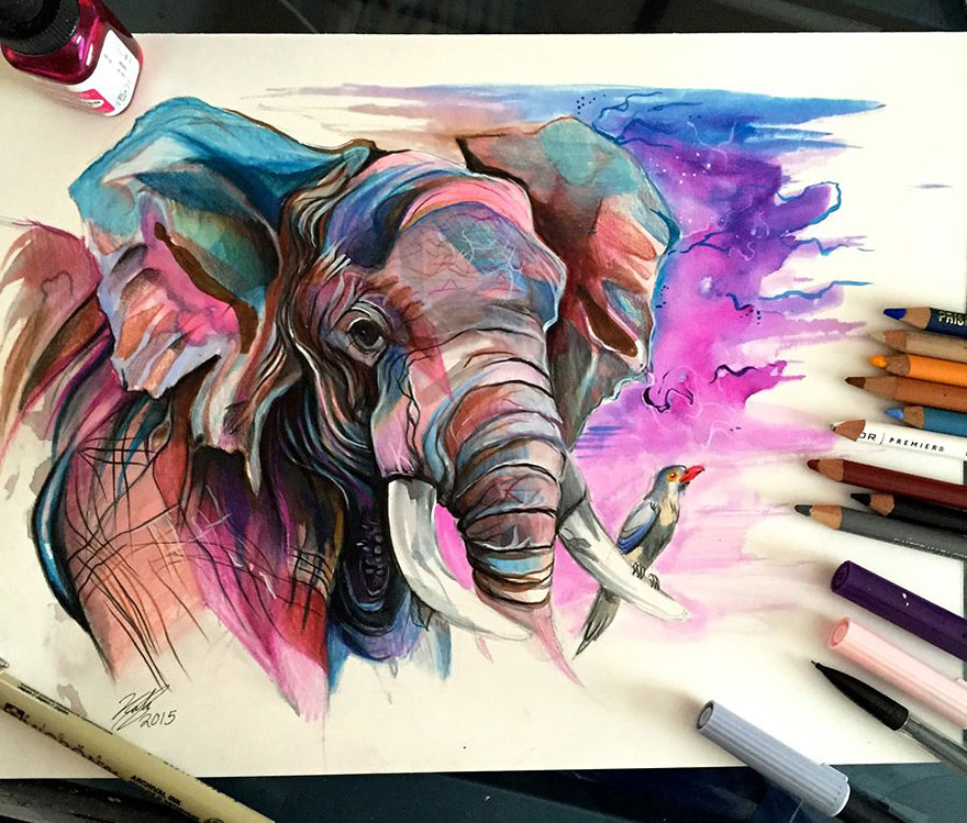 Pencil And Marker Illustrations of Wild Animal Spirits By Katy Lipscomb 4