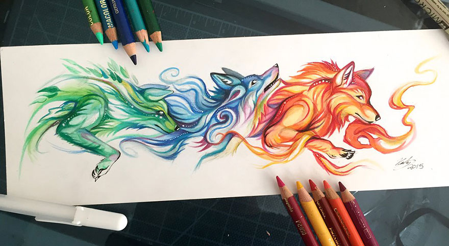 Pencil And Marker Illustrations of Wild Animal Spirits By Katy Lipscomb 5