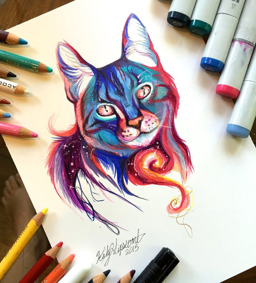 Pencil And Marker Illustrations of Wild Animal Spirits By Katy Lipscomb 6