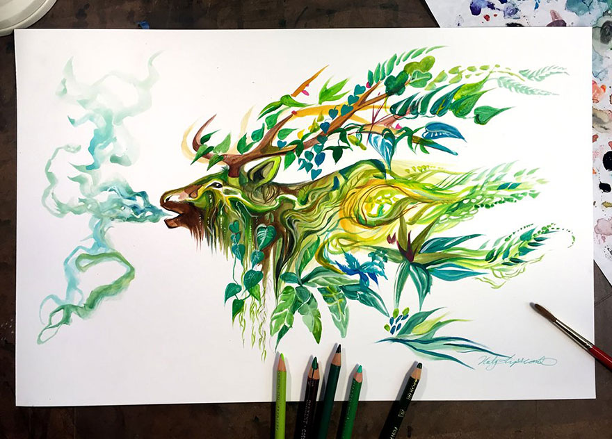 Pencil And Marker Illustrations of Wild Animal Spirits By Katy Lipscomb 8