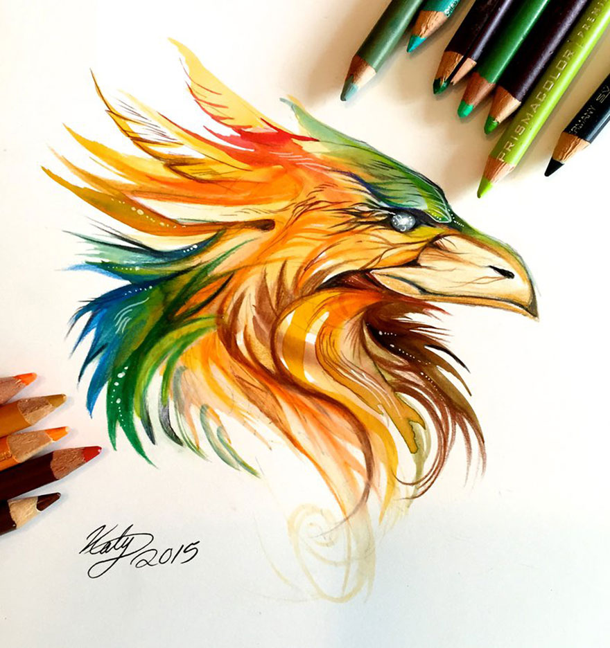 Pencil And Marker Illustrations of Wild Animal Spirits By Katy Lipscomb 9