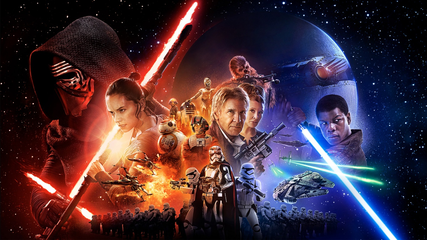 Star Wars Episode VII The Force Awakens Movie poster hd Wallpaper-1366x768