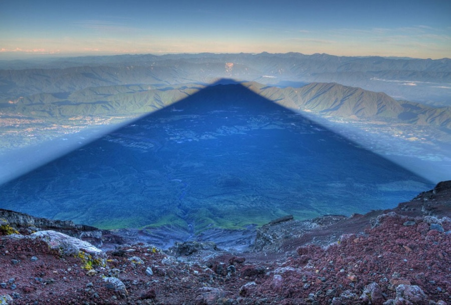 The shadow produced by Mount Fuji, which can reach 24 km in length