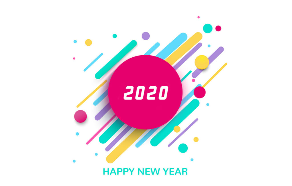 colorful happy new year 2020