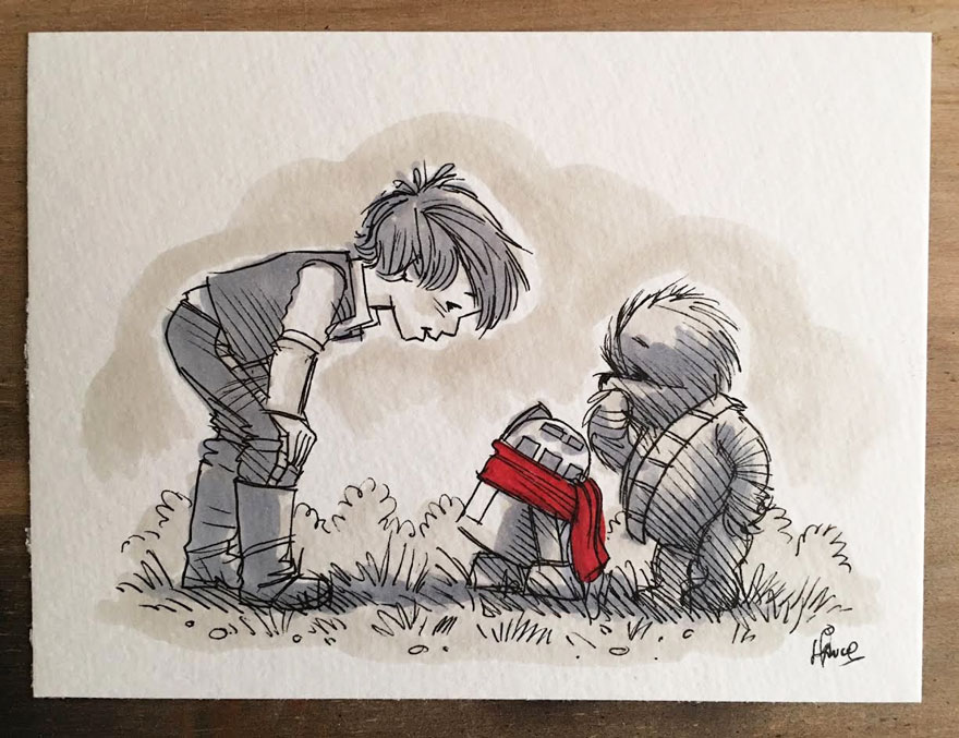 Illustrations Imagine Star Wars Characters As Winnie The Pooh And Friends 1