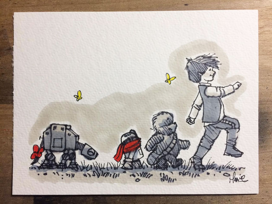 Illustrations Imagine Star Wars Characters As Winnie The Pooh And Friends 16