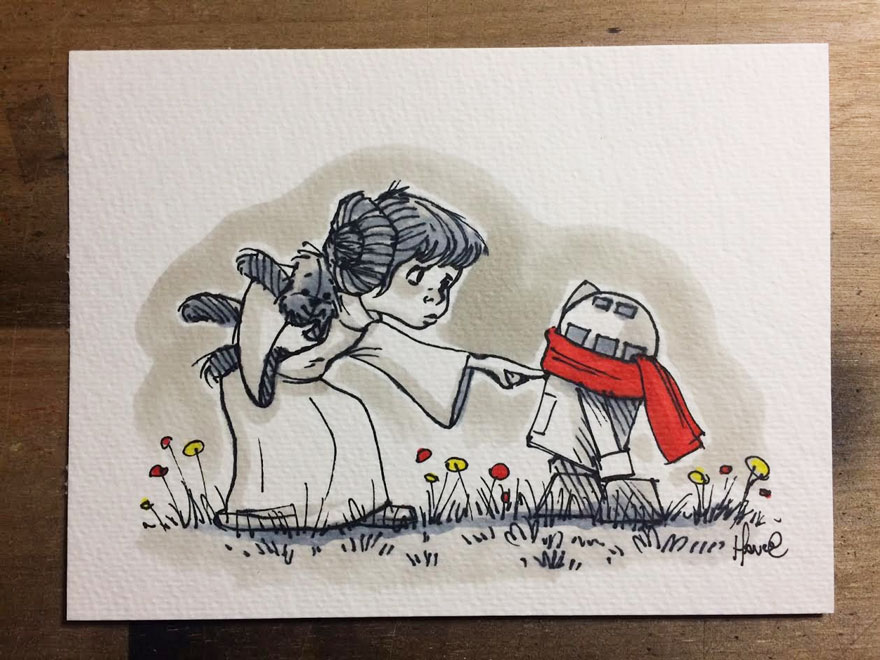 Illustrations Imagine Star Wars Characters As Winnie The Pooh And Friends 6