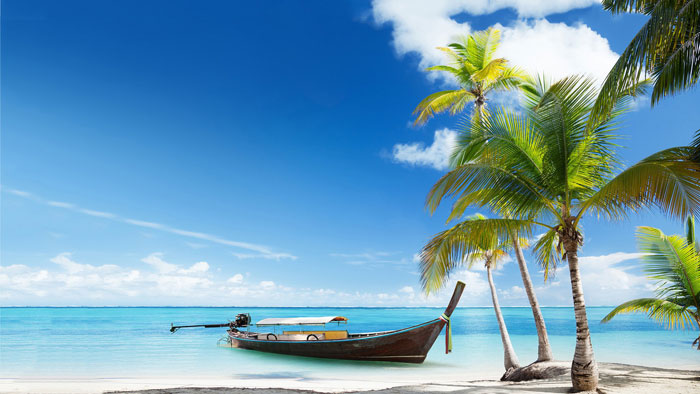 Boat on Tropical Beach desktop background