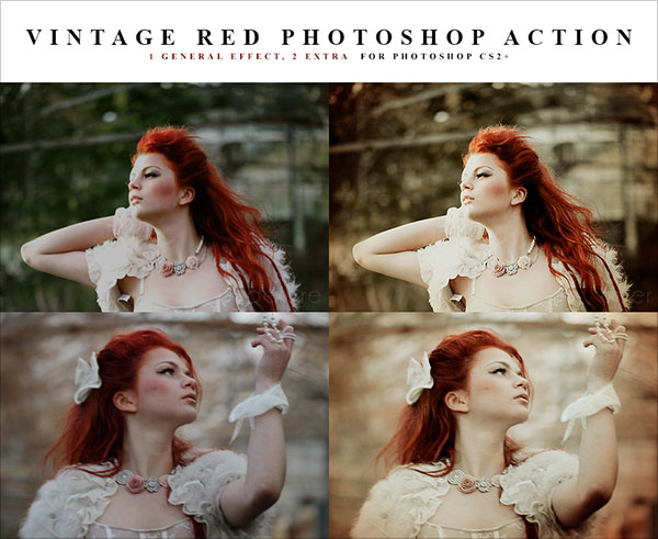 Red vintage Photoshop action