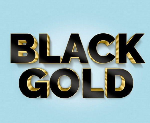 Create 3D Black and Gold Text and Logo Mockup in Photoshop