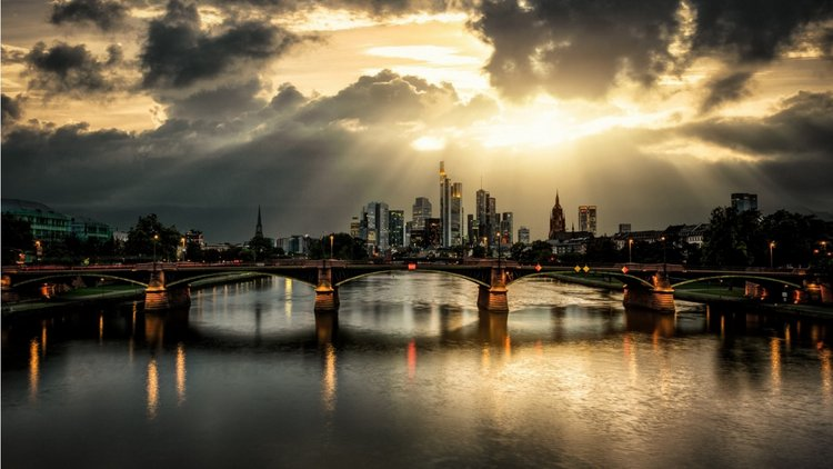 City Bridge Clouds Rays River Wallpaper