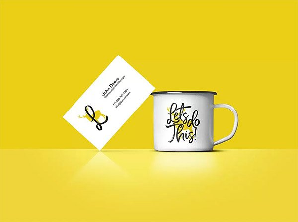 Business Card And Coffee Cup Mockup FREE Download