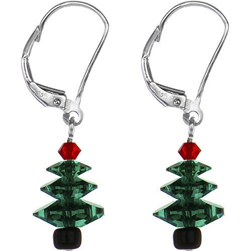 Christmas Tree Earrings Swarovski Crystal