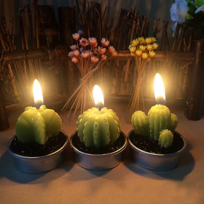 Decorative Cactus Candles Tea Light Candles