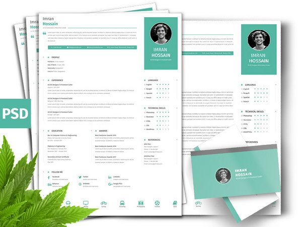 Free PSD Professional Resume CV Business Card Template