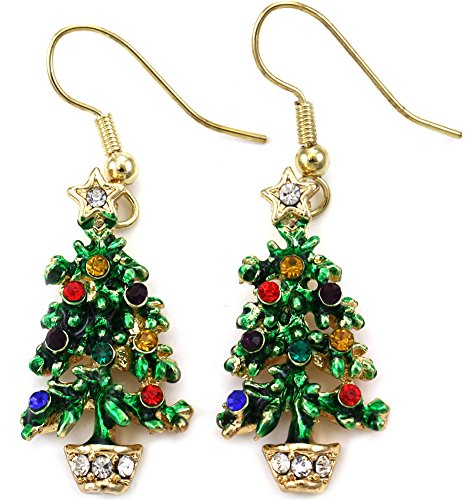 Happy Colorful Christmas Tree Earrings