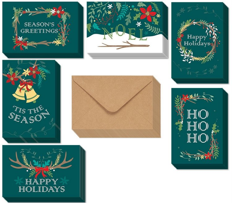Holiday Xmas Greeting Cards with 6 Winter Christmas Designs