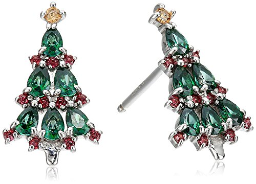 Red and Green Christmas Tree Stud Earrings
