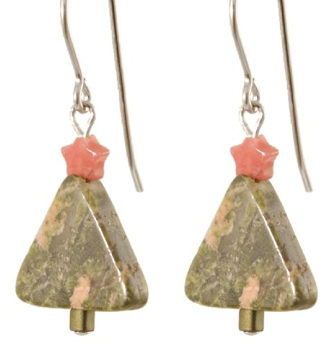 Sterling Silver Gemstone Christmas Tree Earrings