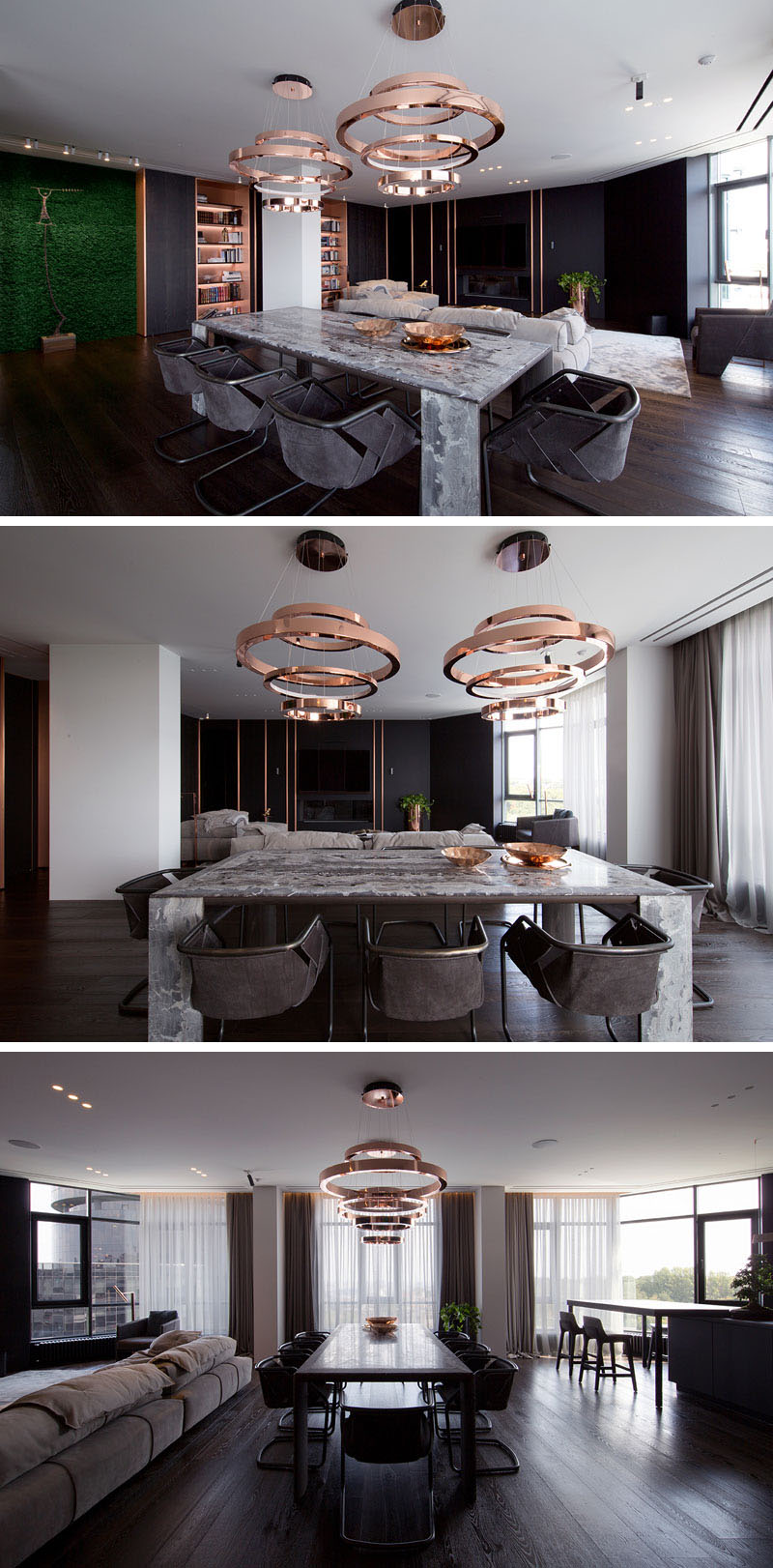 stone dining table copper pendant lights