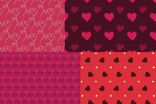 10 Free Valentine's Day Hearts Vector Patterns